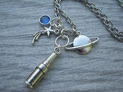 Astronomer Necklace, Personalized Telescope Birthstone Jewel