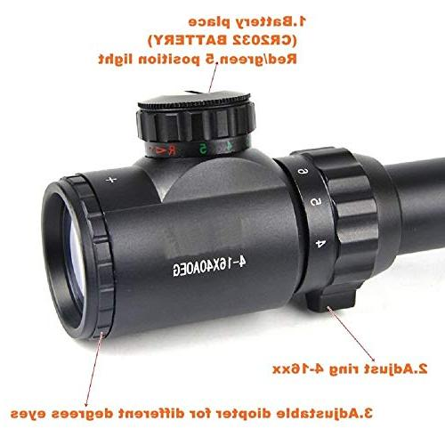 LIGHTELF 4-16X40 Optical Scopes Dot Sight Rifle Scope Optics Riflescope Outdoor Tactical Rifle