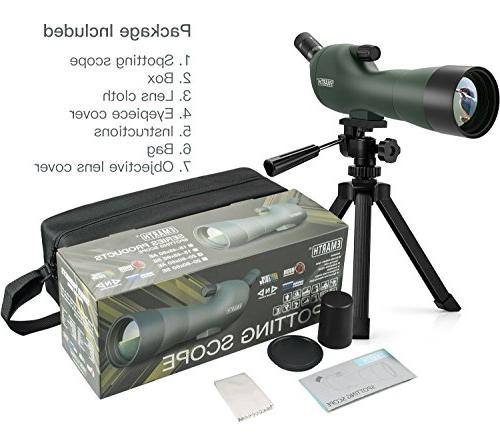 Emarth Spotting Scope with Tripod, 45-Degree Eyepiece, Zoom for Target Wildlife Scenery