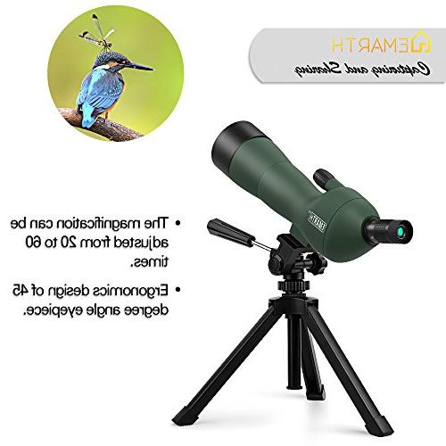 Emarth 20-60x60AE Spotting Scope with 45-Degree Angled Eyepiece, Zoom Shooting Bird Watching Hunting Wildlife