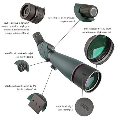 20-60X Prism Spotting Scope- Scope Birdwatching Target Archery Outdoor &