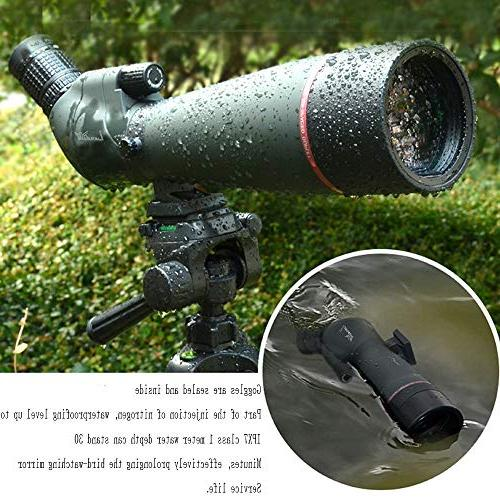 20-60X 80 Spotting Scope- Scope for Birdwatching Target Archery Outdoor Activities -with & Digiscoping Adapter-Get Beauty