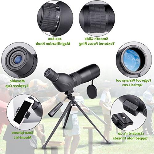 Spotting 20-60x60mm Zoom 39-19m/1000m Fully Multi Coated Optical Lens Movably Eyepiece Rubber Design Telescope Quick Smartphone Mount Kit Tripod for