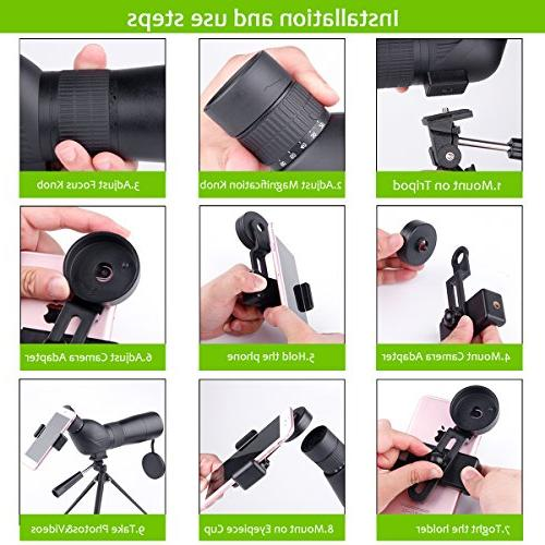 Spotting 20-60x60mm 39-19m/1000m Optical Lens Fogproof Movably Eyepiece Design Telescope with Quick Mount Tripod Target