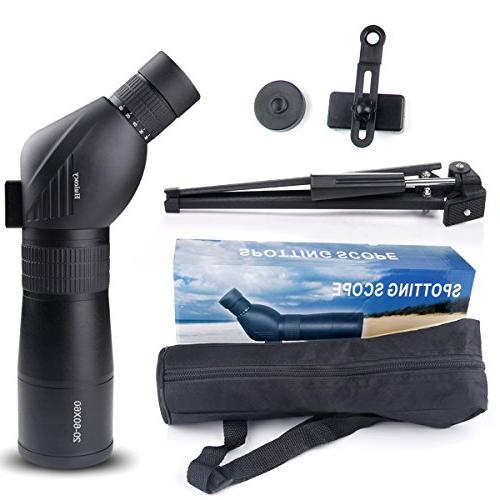 Spotting Zoom 39-19m/1000m Coated Optical Lens Movably Telescope with Mount Kit and Tripod Target