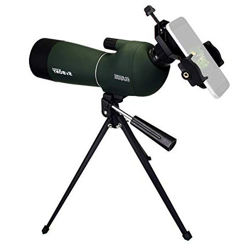 SVBONY Porro Spotting Scope Bird Scopes Bird 45 Angled Eyepiece Telescope Shooting Hunting Bak4 Prism Phone