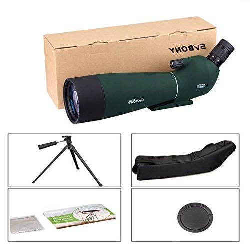 SVBONY SV28 Spotting Scope 20-60x80mm Shooting Bird Hunting Bak4 Prism with Phone and Carrying Case