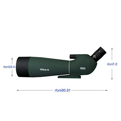 SVBONY SV28 Scope 20-60x80mm for Target Shooting Archery Hunting Bak4 with Phone Adapter and Carrying Case