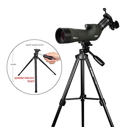 SVBONY Spotting Scope 20-60x60mm Spotting Scope Bak4 for Bird Watching Shooting Camping with Tripod