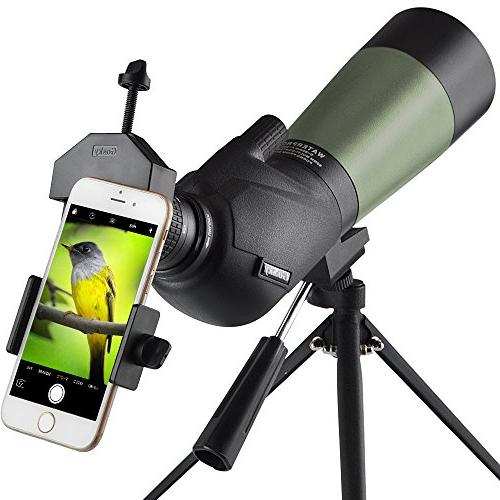 Gosky 20-60x60 Waterproof Spotting Scope -BAK4 Angled Scope Target Archery - with Tripod Digiscoping The