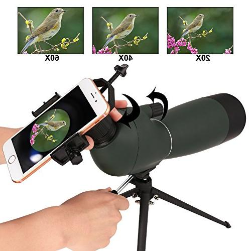ANCHEER 20-60 Spotting Scope Hunting, Target Bird Watching with Tripod Digiscoping