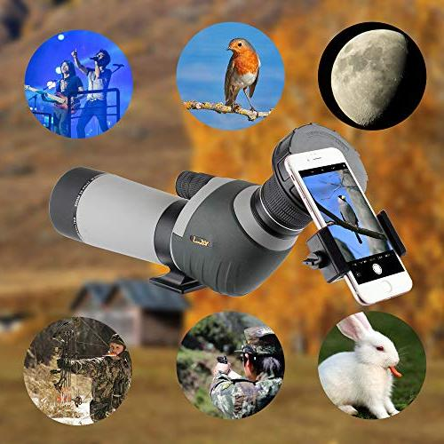 20-60x62 Scope - BAK4 Big Eyepiece Dual Scope with Smartphone Holder and Bag Watching Wildlife Target Hunting