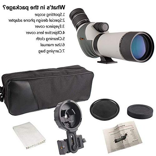 20-60x62 Scope - HD BAK4 Angled Eyepiece Scope with Holder and for Watching Hunting