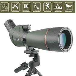 20-60x65mm Porro Prism Spotting Scope, Angled Big Eyepiece w