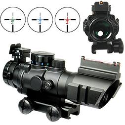 Tactical 4X32 Rifle Scope Fiber Optic Sight & Red ,Green,Blu