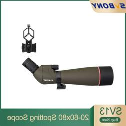 SVBONY Spotting Scope 20-60x65mm Refractor 45° FMC Angle Zo