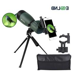 ESSLNB Spotting Scope with Tripod Cell Phone Adapter 25-75 X