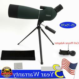 Waterproof 25-75X70 Zoom Monocular BAK4 Spotting Scope w/Tri